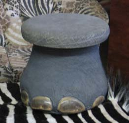 Ele Foot stool, leather top